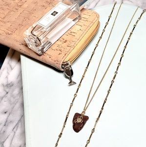 Double layer necklace with stone and crystal cente